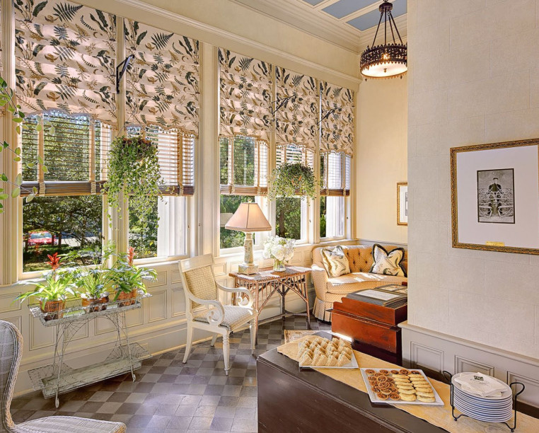 Charming Inns Wentworth Mansion breakfast room with large windows and natural light