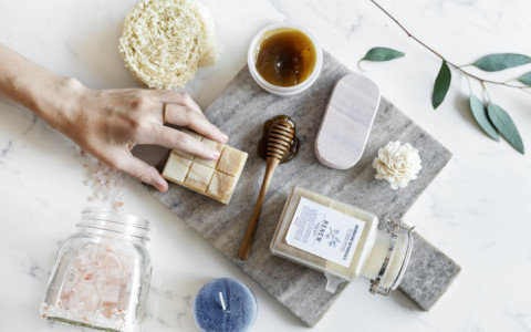 spa essentials flat lay