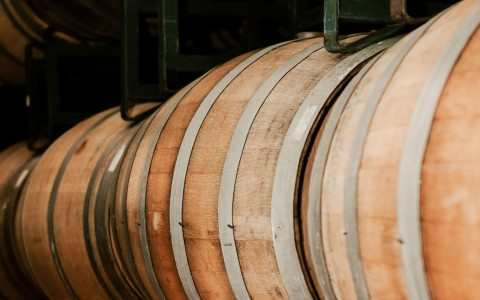 zoomed view of wine barrels