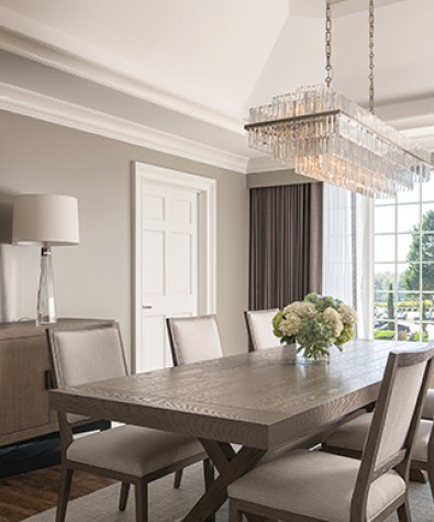 dining room table in suite with seating for six people