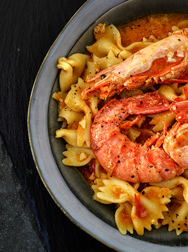seafood and bowtie pasta dish