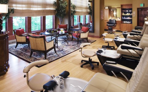 Salon with pedicure chairs