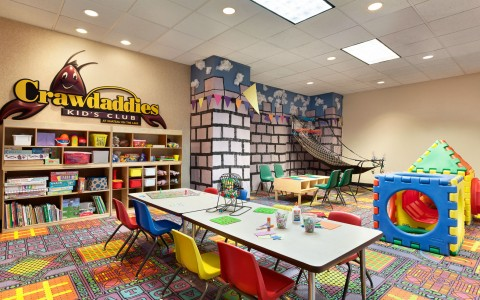 Children activity room with games