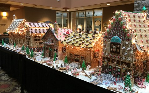 gingerbread houses set up for christmas