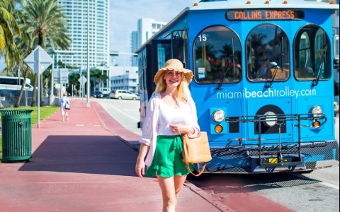 woman outside of miami trolley
