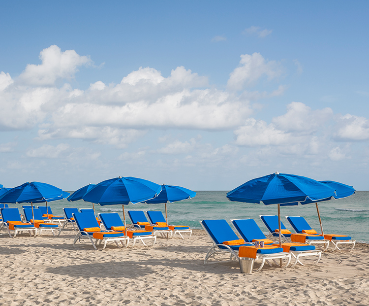 circa 39 row of lounge chairs along the beach