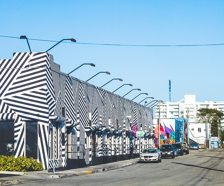 striped building in the design district in Miami