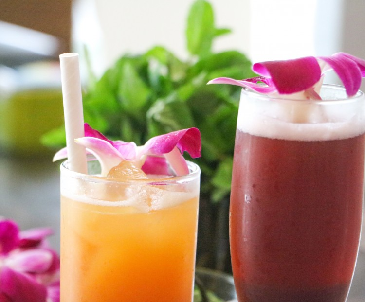 sangria and rum punch cocktails garnished with flowers