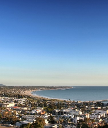 aerial view of the ventura area with a view of the ocean in the distance