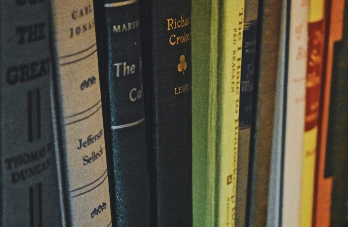 close up of book spines