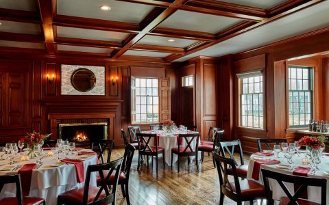 colgate inn dining hall with wooden walls and floors