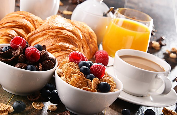a continental breakfast tray