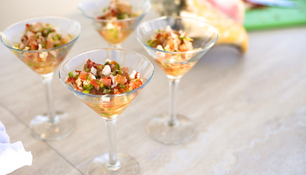 seafood ceviche in martini glasses