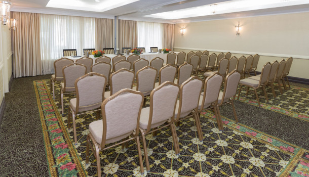 Meeting Room gray chairs in rows