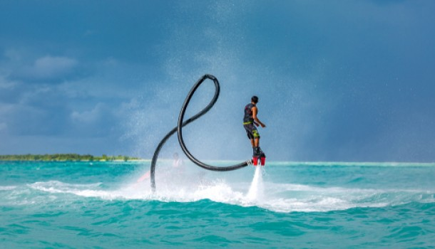 man on fly board jet pack