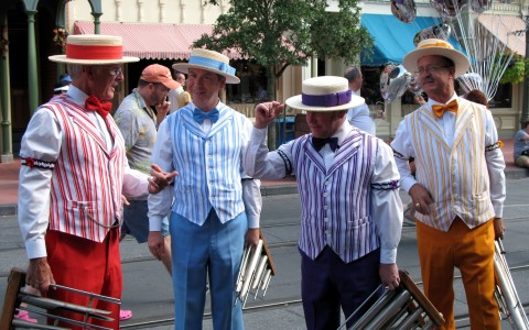 barbershop quartet in colorful clothes