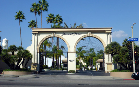 Paramount studio entrance with palm trees