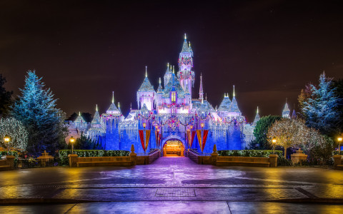 Cinderellas castle lit up at night