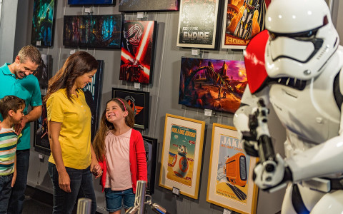 Family in a star wars museum