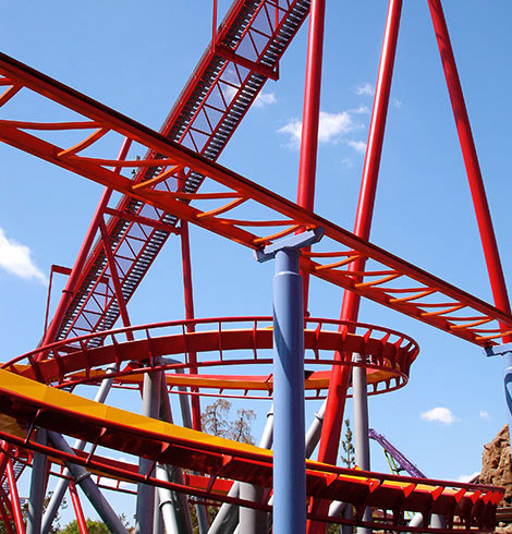 Red roller coaster track