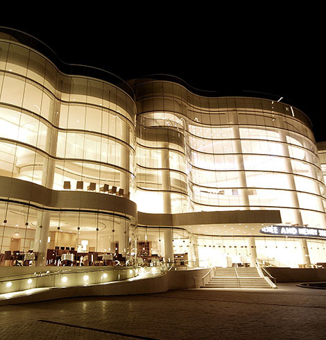Exterior of performing arts center at night