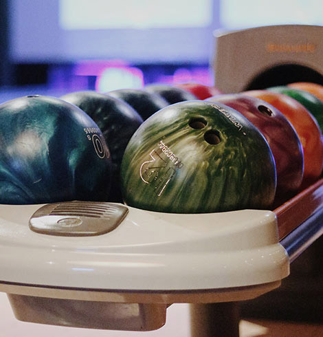 Bowling balls lined up