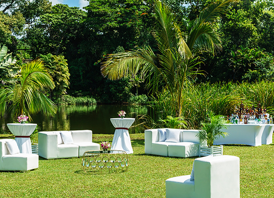 white couches and cocktail tables in a lawn