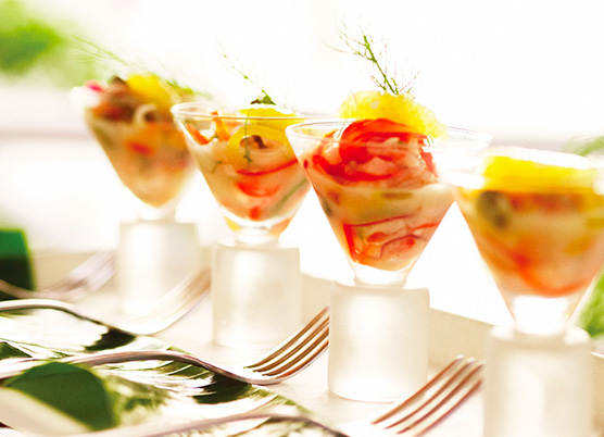 elegant appetizer dish in small cocktail glasses