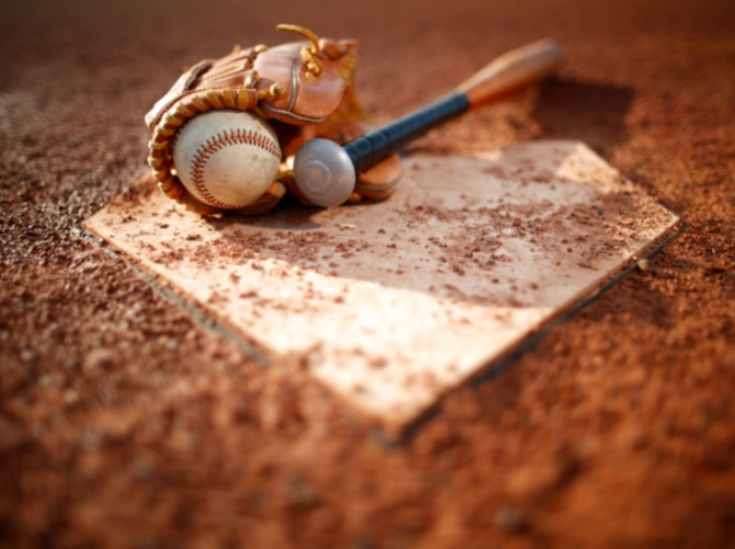 ball bat glove at home plate