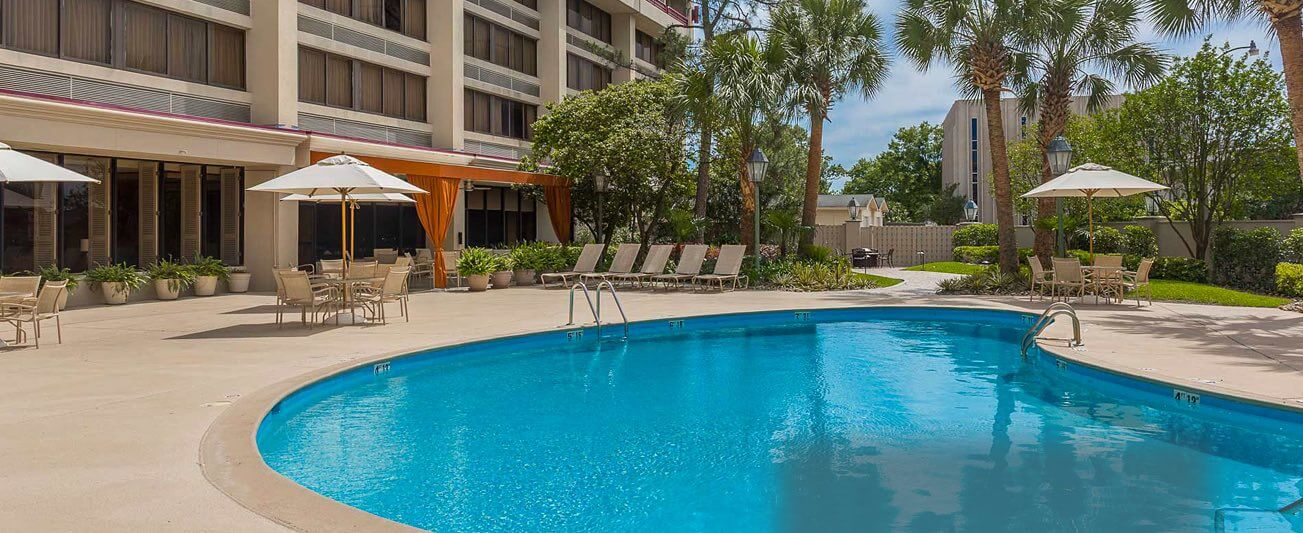 exterior and pool at crowne plaza