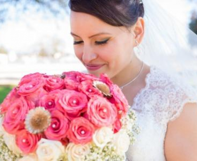 Bride with Pink  White Bouquet
