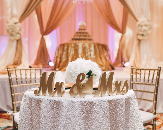 Large script Mr. and Mrs. table settings