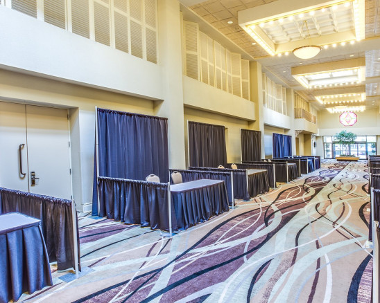 the hallway set up for a trade show