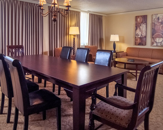 dining table in a guest suite