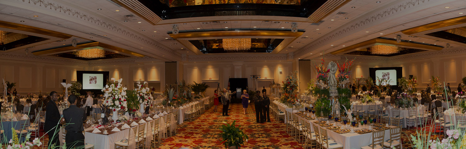 Large banquet hall with decorated tables