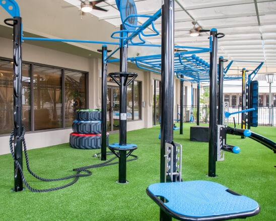 Outdoor fitness center with gym equipment