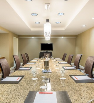 a boardroom set for a meeting