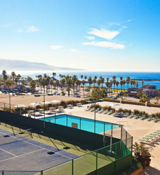 the pool and tennis courts on property