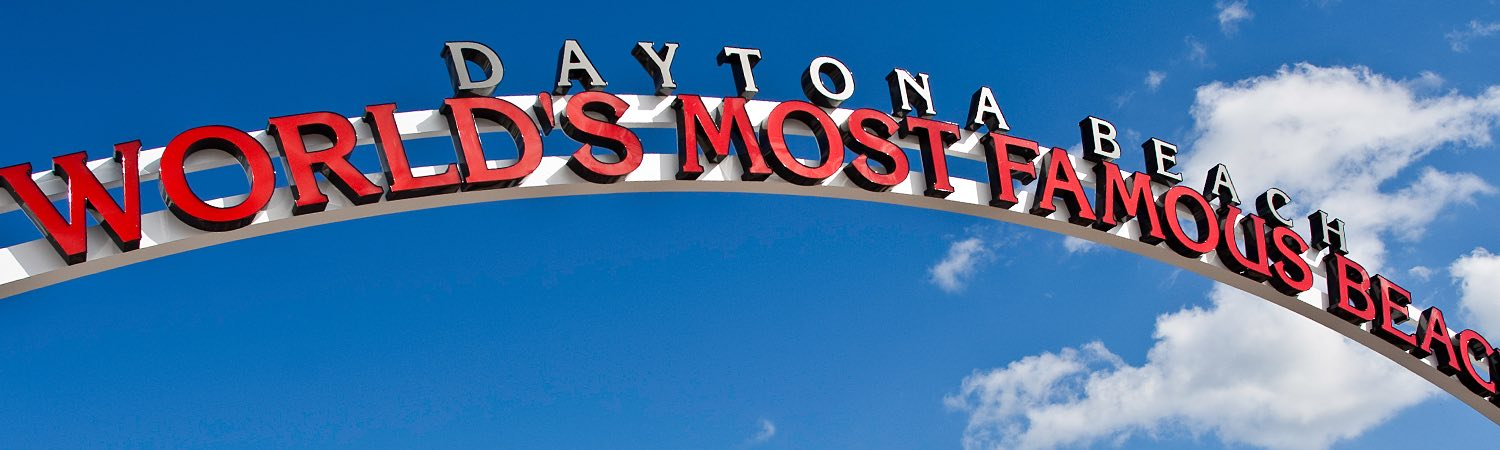 Sign that says Daytona Beach World Most Famous Beach