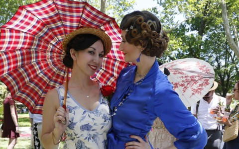 Two women outdoors in Jazz Age period costume