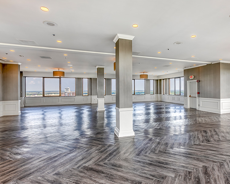 wedding venue with gray floors and view of the city
