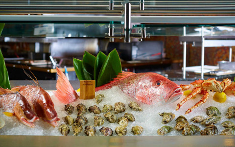 Whole raw fish on ice in tank