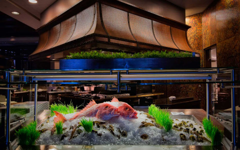 whole raw fish on ice in fish tank