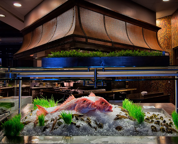 Raw fish on ice inside tank