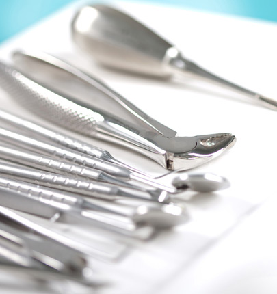 Close up of dentistry tools on table