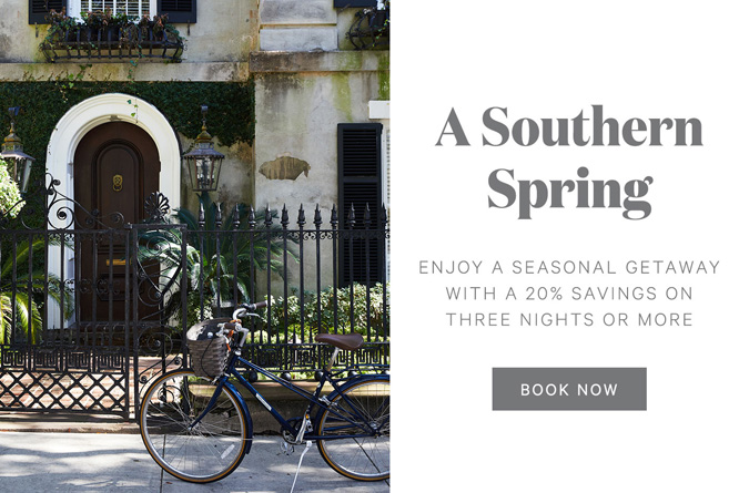 left side of image includes a doorway of a historic building with a bicycle in front, and the right side has text that says a southern spring with offer details