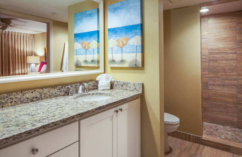 Bathroom with mirror, sink, granite counter tops, toilet and walk-in shower
