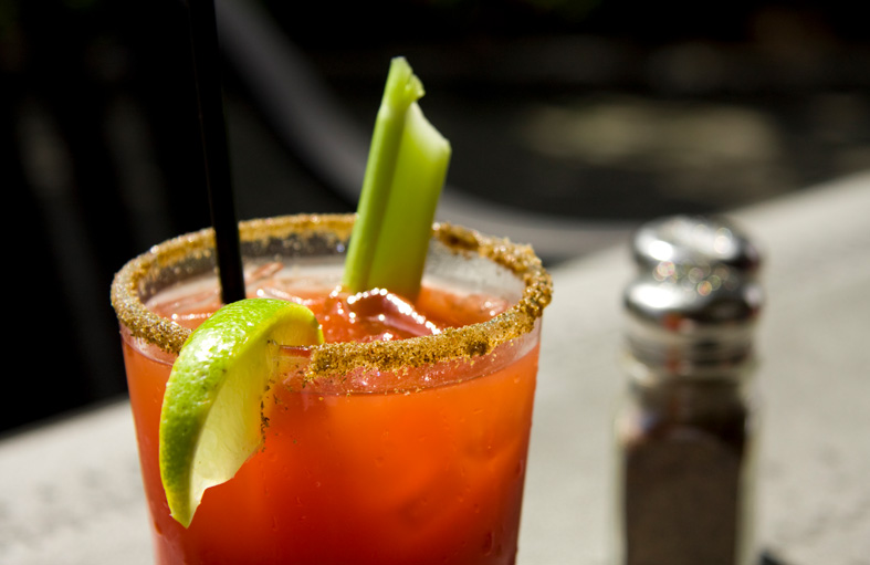Close up of bloody mary on table