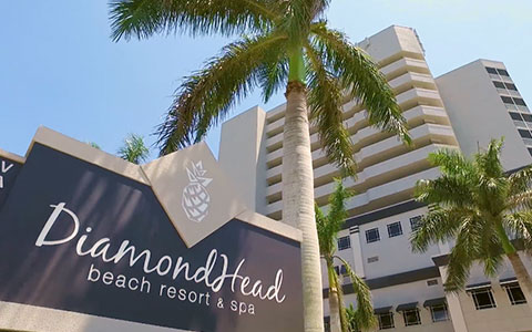 DiamondHead Beach Resort sign in front of hotel building