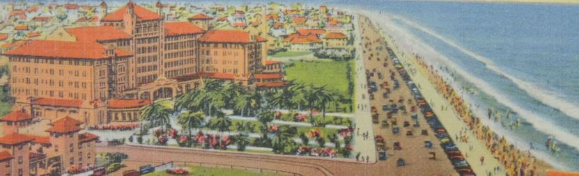 colorful drawing of hotel galvez next to the ocean